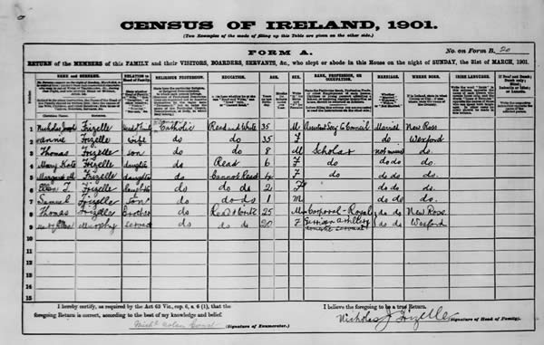 Census, 1901, NJ Frizelle